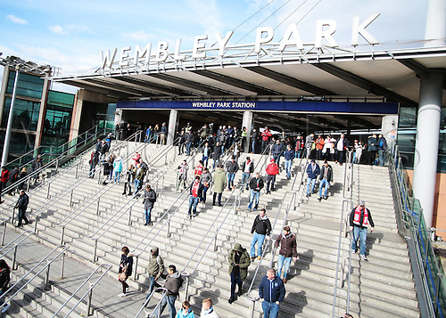 28.02.2016. Wembley Stadium, London, England. Capital One Cup Final. Manchester City versus Liverpool. Fans pour out of Wembley Park Station on their way to the League Cup final