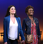 Idina Menzel and LaChanze during the Broadway Opening Night Performance curtain call for  'IF/THEN' at the Richard Rodgers Theatre on March 30, 2014 in New York City.