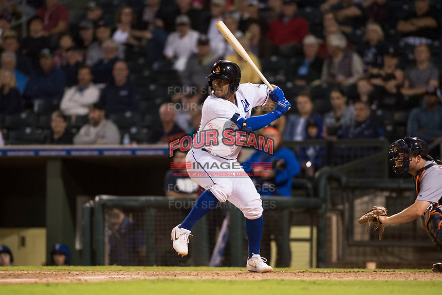 AFL West catcher Meibrys Viloria (9), of the Surprise Saguaros and Kansas City Royals organization, at bat during the Fall Stars game at Surprise Stadium on November 3, 2018 in Surprise, Arizona. The AFL West defeated the AFL East 7-6 . (Zachary Lucy/Four Seam Images)
