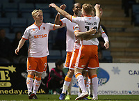 Blackpool's Nathan Delfouneso celebrates scoring his side's first goal  <br /> <br /> Photographer Rachel Holborn/CameraSport<br /> <br /> The EFL Sky Bet League One - Gillingham v Blackpool - Tuesday 6th November 2018 - Priestfield Stadium - Gillingham<br /> <br /> World Copyright &copy; 2018 CameraSport. All rights reserved. 43 Linden Ave. Countesthorpe. Leicester. England. LE8 5PG - Tel: +44 (0) 116 277 4147 - admin@camerasport.com - www.camerasport.com