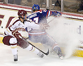 Michael Sit (BC - 18), Zack Kamrass (UML - 27) - The Boston College Eagles defeated the visiting University of Massachusetts Lowell River Hawks 6-3 on Sunday, October 28, 2012, at Kelley Rink in Conte Forum in Chestnut Hill, Massachusetts.