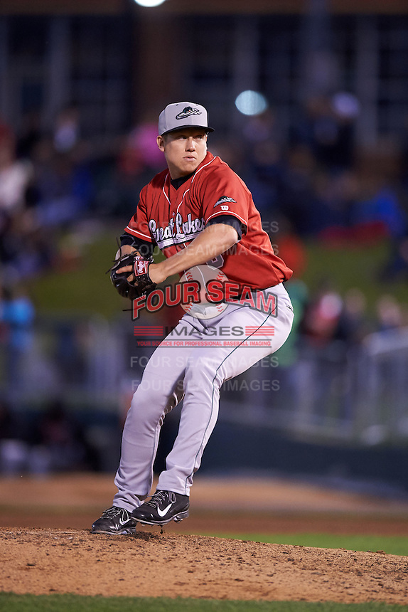 Great Lakes Loons pitcher Karch Kowalczyk (8) delivers a pitch during a game against the Dayton Dragons on May 21, 2015 at Fifth Third Field in Dayton, Ohio.  Great Lakes defeated Dayton 4-3.  (Mike Janes/Four Seam Images)