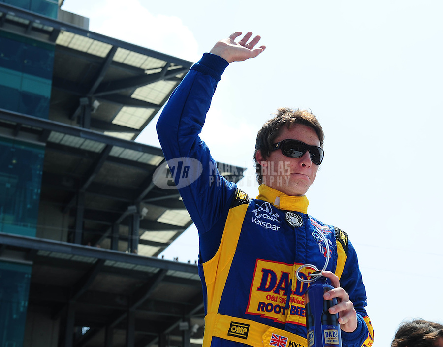 May 30, 2010; Indianapolis, IN, USA; IndyCar Series driver Mike Conway prior to the Indianapolis 500 at the Indianapolis Motor Speedway. Mandatory Credit: Mark J. Rebilas-