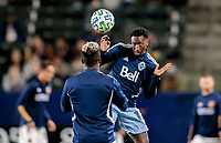CARSON, CA - MARCH 07: Janio Bikel #19 of the Vancouver Whitecaps warming up during a game between Vancouver Whitecaps and Los Angeles Galaxy at Dignity Health Sports Park on March 07, 2020 in Carson, California.
