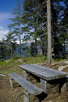 Rustic picnic bench and seats. Imst district, Tyrol, Tirol, Austria.
