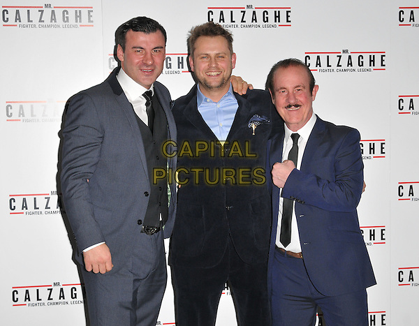 Joe Calzaghe, Vaughan Sivell &amp; Enzo Calzaghe attend the &quot;Mr Calzaghe&quot; gala film screening, The May Fair Hotel, Stratton Street, London, England, UK, on Wednesday 18 November 2015. <br /> CAP/CAN<br /> &copy;CAN/Capital Pictures