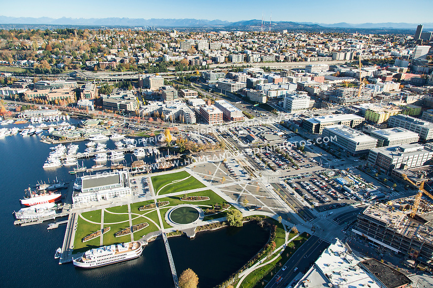 Aerial view of Seattle's Museum of History and Industry, Lake Union Park, and South Lake Union neighborhood