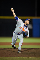 St. Lucie Mets relief pitcher Alex Palsha (16) delivers a pitch during a game against the Dunedin Blue Jays on April 19, 2017 at Florida Auto Exchange Stadium in Dunedin, Florida.  Dunedin defeated St. Lucie 9-1.  (Mike Janes/Four Seam Images)
