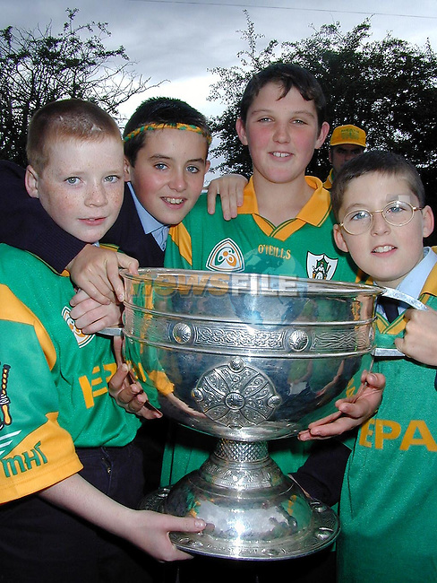 Paul Cromwell, Paul Marry, Shane Connell and Conor Ruddy from Duleek Boys National School with the Sam Maguire cup on Thursday..Picture Paul Mohan Newsfile