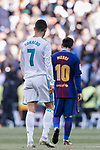 Lionel Messi of FC Barcelona and Cristiano Ronaldo of Real Madrid walk off pitch during the La Liga 2017-18 match between Real Madrid and FC Barcelona at Santiago Bernabeu Stadium on December 23 2017 in Madrid, Spain. Photo by Diego Gonzalez / Power Sport Images