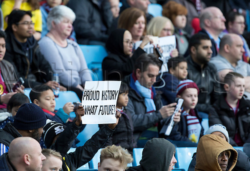 02.04.2016. Villa Park, Birmingham, England. Barclays Premier League. Aston Villa versus Chelsea.  Aston Villa fans display their disapproval of their team by holding signs saying 'Proud History What Future?