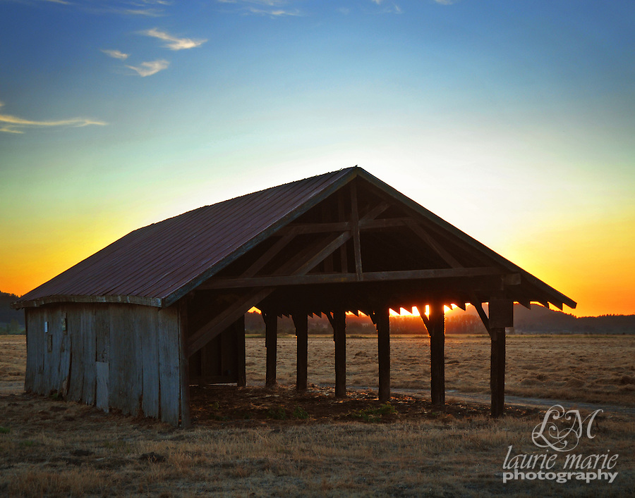 An old empty hay barn at sunset. This one is for squarer format prints like 8x10s