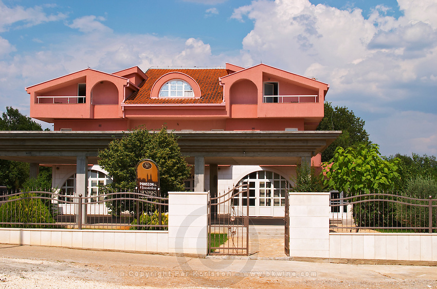 The winery, restaurant and auberge building. Podrum Vinoteka Sivric winery, Citluk, near Mostar. Federation Bosne i Hercegovine. Bosnia Herzegovina, Europe.