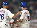 (R-L) Daisuke Matsuzaka, Tom Goodwin (Mets),<br /> AUGUST 28, 2013 - MLB :<br /> Daisuke Matsuzaka of the New York Mets talks with first base coach Tom Goodwin after hitting a single in the third inning during the Major League Baseball game against the Philadelphia Phillies at Citi Field in Flushing, New York, United States. (Photo by AFLO)