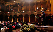 "United States President George W. Bush makes remarks during the 24th annual ""Christmas in Washington"" pageant December 11, 2005 at the National Building Museum in Washington, DC. The annual holiday musical celebration benefiting the Children's National Medical Center will broadcast on TNT December 14, 2005.  <br /> Credit: Chip Somodevilla / Pool via CNP"