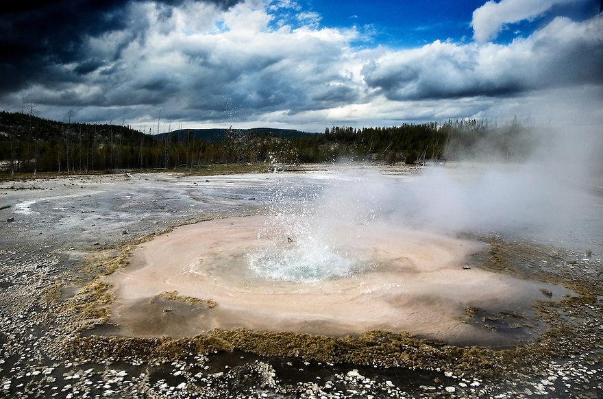 A geyser percolates in Norris Geyser Basin, Yellowstone National Park.