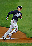 30 March 2008: Atlanta Braves' infielder Chipper Jones rounds third base after hitting the first home run in history at Nationals Park in Washington, DC. The Washington Nationals christened their  new ballpark with a win over the visiting Braves 3-2 in the inaugural game of the state-of-the-art sports facility...Mandatory Photo Credit: Ed Wolfstein Photo