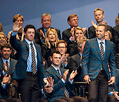 25.09.2014. Gleneagles, Auchterarder, Perthshire, Scotland.  The Ryder Cup.  Rory McIlroy and Sergio Garcia (EUR) are announced as a pairing on the opening days play, during the opening ceremony.