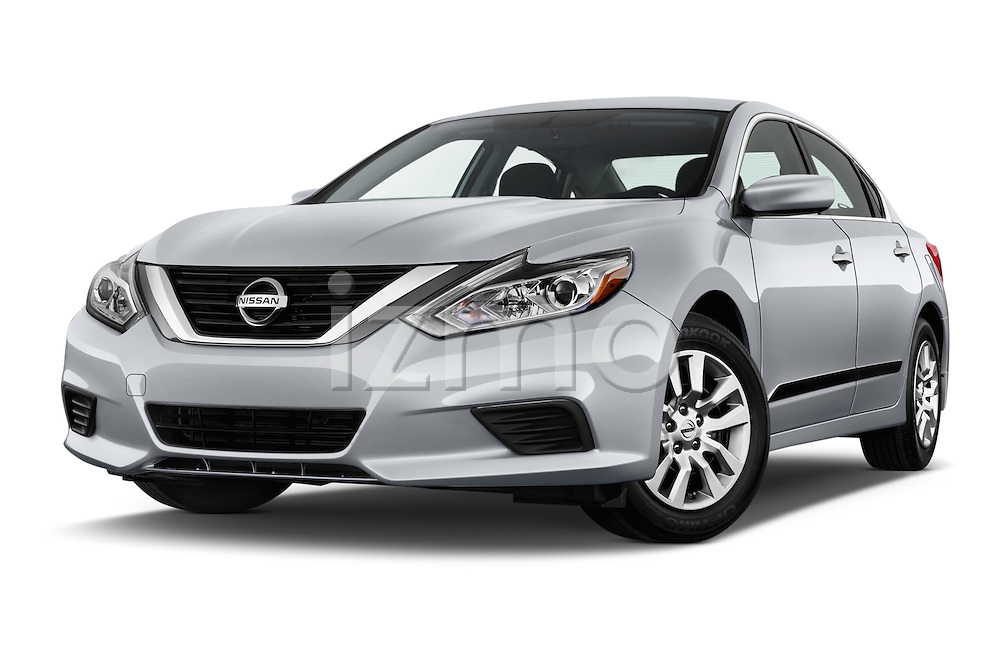 Stock pictures of low aggressive front three quarter view of 2016 Nissan Altima S 4 Door Sedan Low Aggressive
