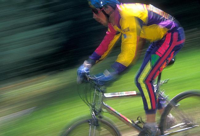 Male Mountain Bike Racer on World Championship Downhill Course, Durango Mountain Resort, Durango, Colorado