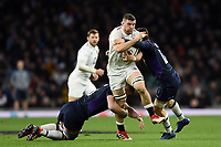 Mark Wilson of England takes on the Scotland defence. Guinness Six Nations match between England and Scotland on March 16, 2019 at Twickenham Stadium in London, England. Photo by: Patrick Khachfe / Onside Images