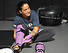 Female mixed martial arts fighter Jennie Nedell gets ready for a sparring session at Longo-Weidman MMA in Garden City on Friday, July 7, 2017.