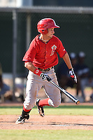 Los Angeles Angels of Anaheim outfielder Bo Way (20) during an Instructional League game against the Milwaukee Brewers on October 9, 2014 at Tempe Diablo Stadium Complex in Tempe, Arizona.  (Mike Janes/Four Seam Images)