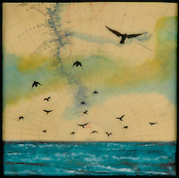 Mixed media photo transfer with encaustic painting over antique map of Antarctica with birds flying over a turquoise sea
