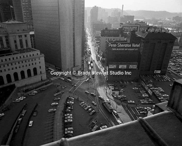 Pittsburgh PA - View of the Fort Pitt Hotel and upper Liberty Avenue - 1965.  Photograph taken from the top of the PA Railroad Station