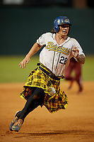 Savannah Bananas Daniel Oberst (28) running the bases during a Coastal Plain League game against the Macon Bacon on July 15, 2020 at Grayson Stadium in Savannah, Georgia.  Savannah wore kilts for their St. Patrick's Day in July promotion.  (Mike Janes/Four Seam Images)