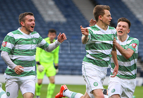 21.05.2015.  Glasgow, Scotland. Little Big Shot Scottish Youth Cup Final. Celtic versus Rangers.  Aidan Nesbitt celebrates his goal with Kieran Tierney and Paul McMullan