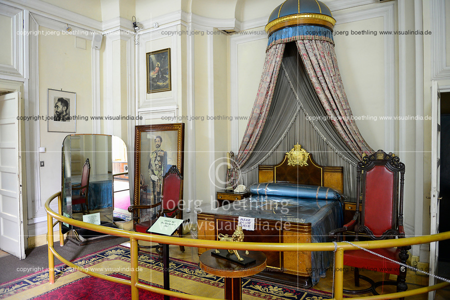 ETHIOPIA , Addis Ababa, , old palace of emperor Haile Selassie, today ethnographical museum of Institute for ethiopian studies, University of Addis Abeba, imperial bedroom