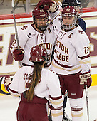 Haley Skarupa (BC - 22), Andie Anastos (BC - 23) - The Boston College Eagles defeated the visiting UConn Huskies 4-0 on Friday, October 30, 2015, at Kelley Rink in Conte Forum in Chestnut Hill, Massachusetts.