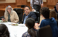 "Pre-talk luncheon with students and staff.<br /> Tal Becker, one of Israel's top peace negotiators and senior fellow at the Shalom Hartman Institute in Jerusalem, spoke on April 24, 2018 as Occidental College's 2018 Jack Kemp '57 Distinguished Lecturer. Becker spoke about ""The Israeli-Palestinian Conflict in Jewish Discourse: Identity, Justice and Religion"" in Choi Auditorium.<br /> (Photo by Marc Campos, Occidental College Photographer)"