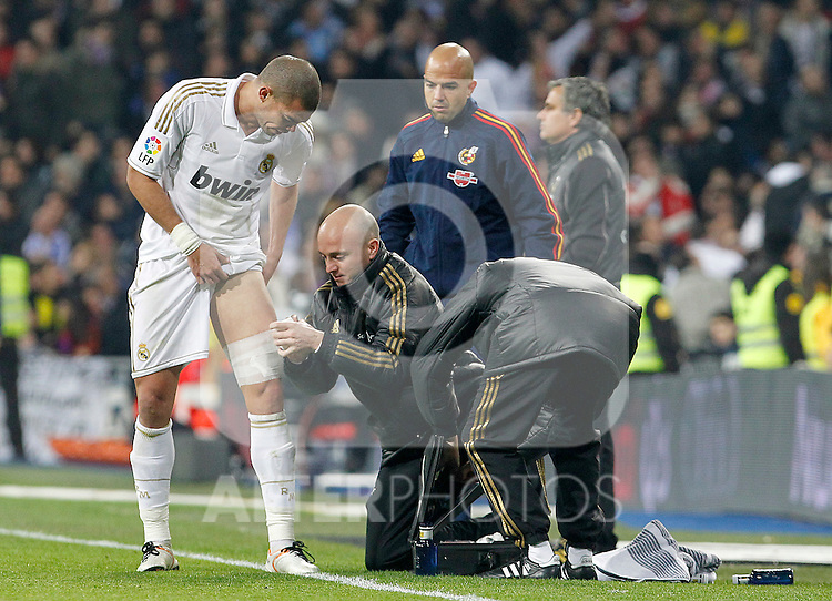 Real Madrid's Pepe injured during Spanish King's Cup match.January 18,2011. (ALTERPHOTOS/Acero)
