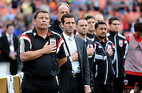 Washington D.C. - May 17, 2014: D.C. United Head Coach Ben Olsen during the signing of the National Anthem.  D.C. United tied the Montreal Impact 1-1 during a Major League Soccer match for the 2014 season at RFK Stadium.