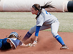 April 7, 2012:    San Jose State Spartans shortstop BranDee Garcia tags out Nevada Wolf Pack runner Sara Parsons as she attempts to steal during their NCAA softball game played at Christina M. Hixson Softball Park on Saturday in Reno, Nevada.