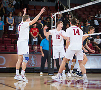 STANFORD, CA - January 17, 2019: Paul Bischoff, Jordan Ewert, Kyler Presho at Maples Pavilion. The Stanford Cardinal defeated UC Irvine 27-25, 17-25, 25-22, and 27-25.