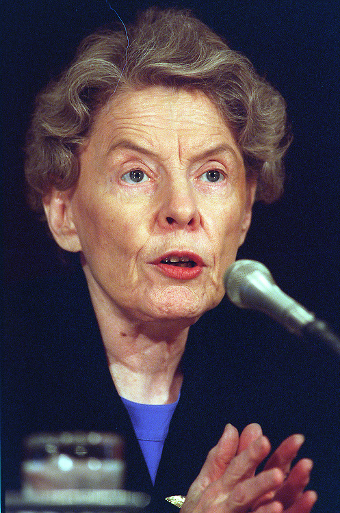 10/09/97.NATO EXPANSION--Jeane J. Kirkpatrick, of the American Enterprise Institute, testifies before the Foreign Relations Committee on whether to enlarge NATO..CONGRESSIONAL QUARTERLY PHOTO BY SCOTT J. FERRELL