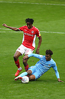 Dujon Sterling of Coventry City, currently on loan from Chelsea, tackles Charlton's Joe Aribo during Charlton Athletic vs Coventry City, Sky Bet EFL League 1 Football at The Valley on 6th October 2018