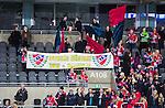 Stockholm 2015-03-13 Bandy SM-final damer Kareby IS - AIK :  <br /> Karebys supportrar med en banderoll med texten &quot;Svenska M&auml;stare 2015&quot; efter matchen mellan Kareby IS och AIK <br /> (Foto: Kenta J&ouml;nsson)<br /> Nyckelord:  SM SM-final final Bandyfinal Bandyfinalen Dam Damer Dambandy AIK Kareby IS supporter fans publik supporters