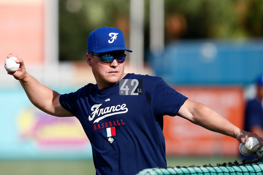 18 September 2012: France Patrice Baudin pitches during Team France practice, at the 2012 World Baseball Classic Qualifier round, in Jupiter, Florida, USA.