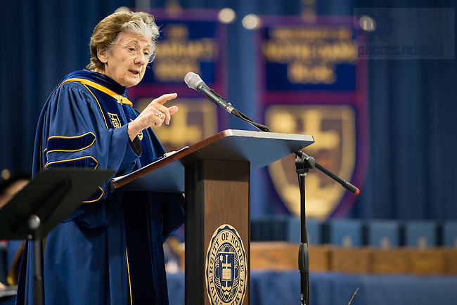 May 14, 2016; Rita Colwell speaks at the Graduate School Commencement ceremony. (Photo by Matt Cashore/University of Notre Dame)