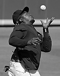 (Ft. Myers, FL, 03/13/15) Boston Red Sox left fielder  Hanley Ramirez catches a fly ball with his bare hands during an outfielder's drill prior to the start of a Major League Baseball spring training game against the New York Yankees at JetBlue Park in Ft. Myers, Florida on Friday, March 13, 2015. Photo by Christopher Evans