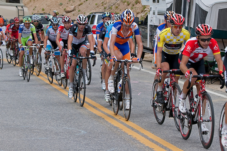 Levi at the front of the Peleton on Stage 2 riding up to Independence Pass (12,095 feet)