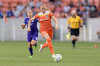 Janine Beckie (11) of the Houston Dash races up the field with the ball against the Orlando Pride on Friday, May 20, 2016 at BBVA Compass Stadium in Houston Texas. The Orlando Pride defeated the Houston Dash 1-0.