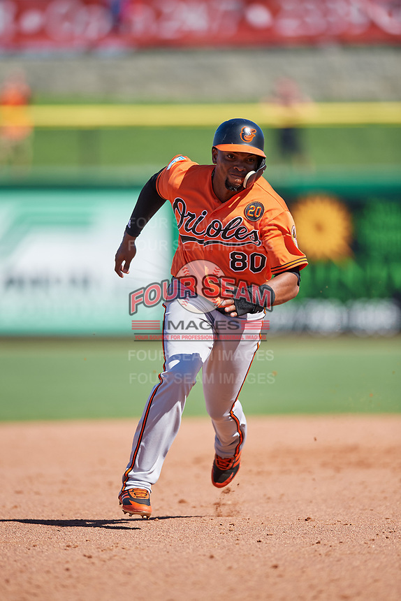 Baltimore Orioles right fielder Yusniel Diaz (80) runs the bases during a Grapefruit League Spring Training game against the Philadelphia Phillies on February 28, 2019 at Spectrum Field in Clearwater, Florida.  Orioles tied the Phillies 5-5.  (Mike Janes/Four Seam Images)