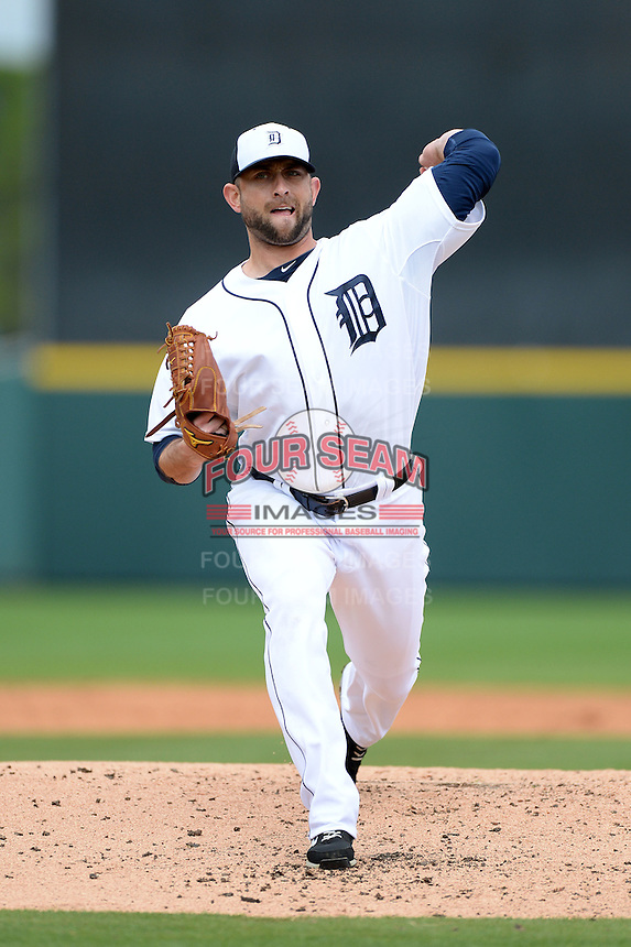 Detroit Tigers pitcher Duane Below (64) during a spring training game against the Atlanta Braves on February 27, 2014 at Joker Marchant Stadium in Lakeland, Florida.  Detroit defeated Atlanta 5-2.  (Mike Janes/Four Seam Images)