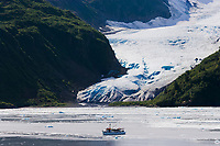 MV Discovery in front of Tigertail Glacier, Nassau fjord, Prince William Sound, Alaska.