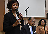 Michele Baptiste, HT 2017 Party candidate for Freeport Justice, speaks during a meeting of candidates at Freeport Memorial Library on Thursday, March 2, 2017.